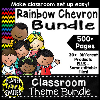 Classroom Decor Theme Bundle ~ Chevron Rainbow Print with black background