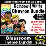 Classroom Decor Theme Bundle ~ Chevron Rainbow Print with white background