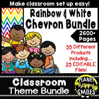 Classroom Decor Theme Bundle ~ Chevron Rainbow Print with