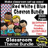 Classroom Decor Theme Bundle ~ Red, White, and Blue Chevron Theme