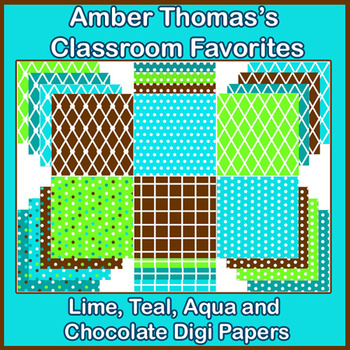 Classroom Theme:  Lime Green, Teal, Aqua and Chocolate Digi Papers Bold Theme