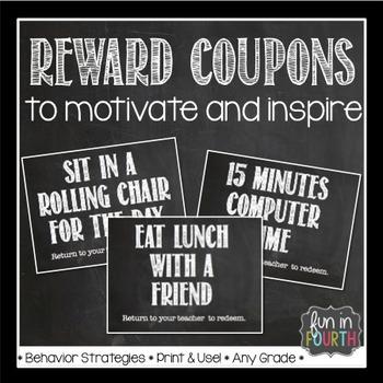 Editable Motivational Reward Coupons Chalkboard Themed