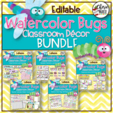 Classroom Themes Decor Bundle | Watercolor Bugs Editable
