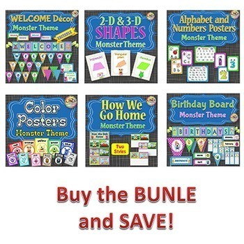 Classroom Themes - Monsters - BUNDLE 1
