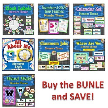 Classroom Themes - Monsters - BUNDLE 2