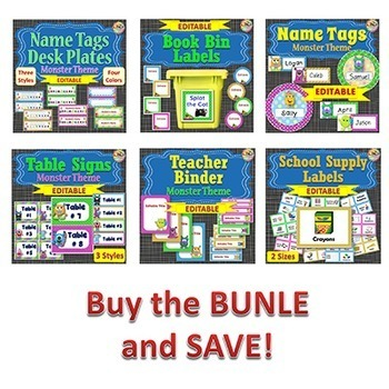 Classroom Themes - Monsters - BUNDLE 3