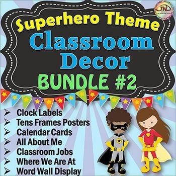 SUPERHERO Classroom Theme BUNDLE 2 Classroom Door, Bulletin Board, Wall Displays
