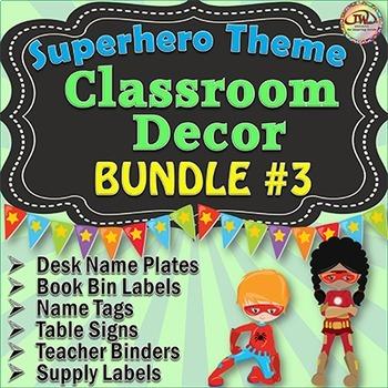 Superhero Classroom Theme Bundle 3 Classroom Organization Editable