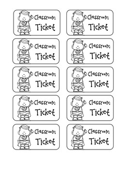 Classroom Ticket (Reward System)