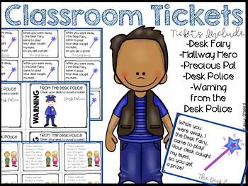 Classroom Tickets {Desk Fairy, Desk Police &  More!}
