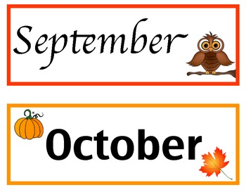 Classroom Timeline Month Titles