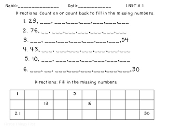 1.NBT.A.1 Fill in the missing number