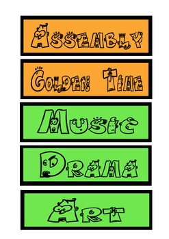 Classroom Timetable Labels for Display Set 1
