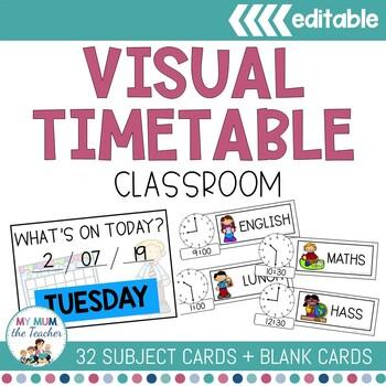 Classroom Timetable editable - Analogue & Digital Times