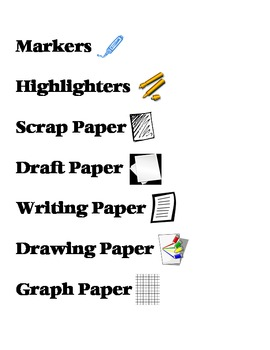 Classroom Tools & Supplies Titles with Pictures