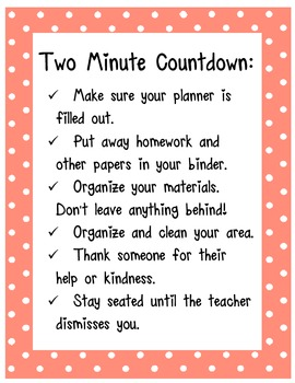 Classroom Transition Poster - Two Minute Countdown