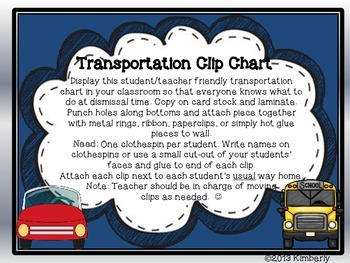 Transportation Clip Chart-Includes: Bus/Car Rider, Walker, and Daycare