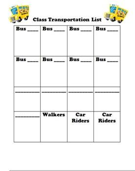 Classroom Transportation List