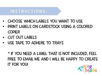 Classroom Tray Labels