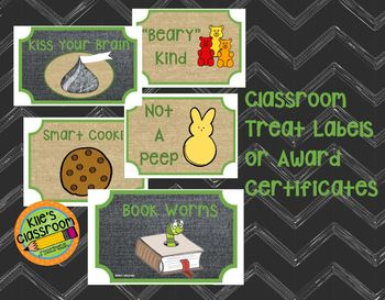 Classroom Treat Labels / Classroom Candy Awards