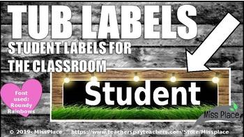 Classroom Tub Labels Editable