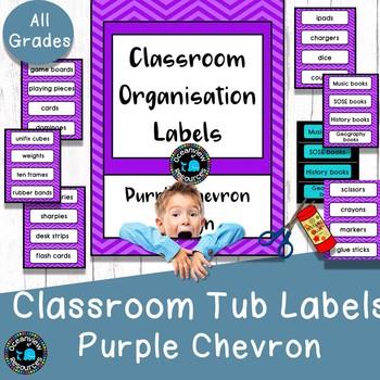 Classroom Tub Labels - Purple Chevron Design