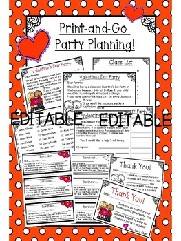 Classroom Valentine's Day Party  Planning Pack - EDITABLE