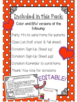 Classroom Valentine S Day Party Planning Pack Editable By