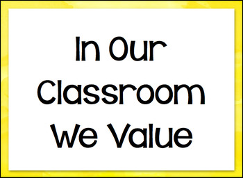 Classroom Values Word Wall