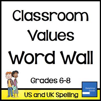 Classroom Values: Word Wall