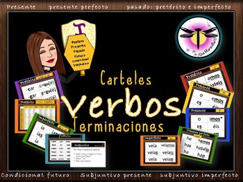 Classroom Verbs Ending Posters: Present to Subjunctive