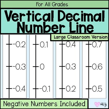Classroom Vertical Positive and Negative Decimal Number Line (-10 to 10)