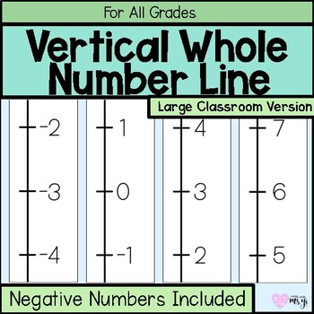 Classroom Vertical Positive and Negative Integer Number Line Large (-100 to 100)