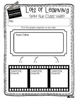 Classroom Video / Movie Response Pack - No Prep! Ready to use!