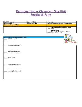 Classroom Visit Observation Form - Head Start/EarlyChildhood