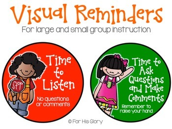 Classroom Visual Reminders (for small/large group instruction)