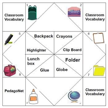 Classroom Vocabulary Cootie Catcher