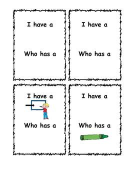 Classroom Vocabulary I have Who Has