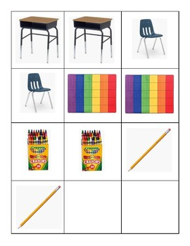 Classroom Vocabulary Memory Game Cards- Perfect for ELL / ESOL Students