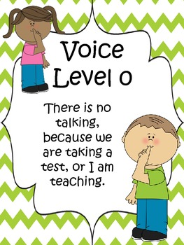 Classroom Voice Level Chart {Lime Green Chevron}