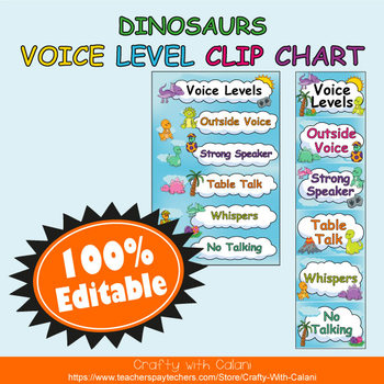 Classroom Voice Level Clip Chart in Cute Dinosaurs Theme - 100% Editble