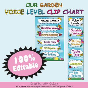 Classroom Voice Level Clip Chart in Flower & Bugs Theme - 100% Editable
