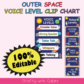 Classroom Voice Level Clip Chart in Outer Space Theme - 100% Editble