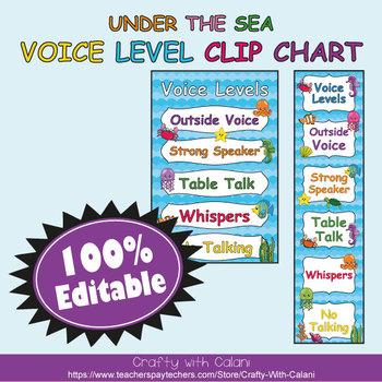 Classroom Voice Level Clip Chart in Under The Sea Theme - 100% Editble