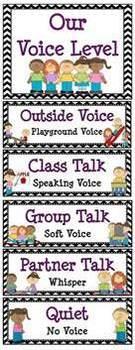 Classroom Voice Level Displays & Clip Chart –Black Chevron