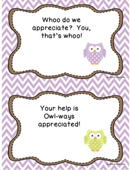 Classroom Volunteer COMPLETE Toolkit- Purple & Green Chevron Owl Theme 2017-2018