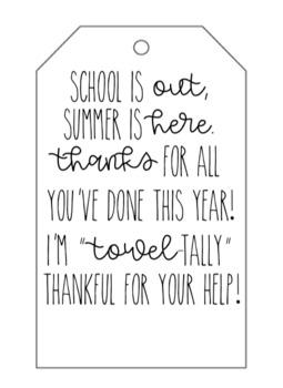 Classroom Volunteer Gift Tags