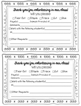 {FREEBIE!} Classroom Volunteer Instruction Request Sheets