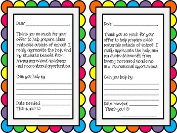 Classroom Volunteer Letter for preparing materials at home
