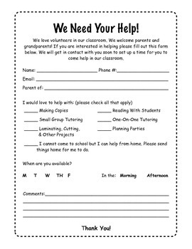 Classroom Volunteer Sheet